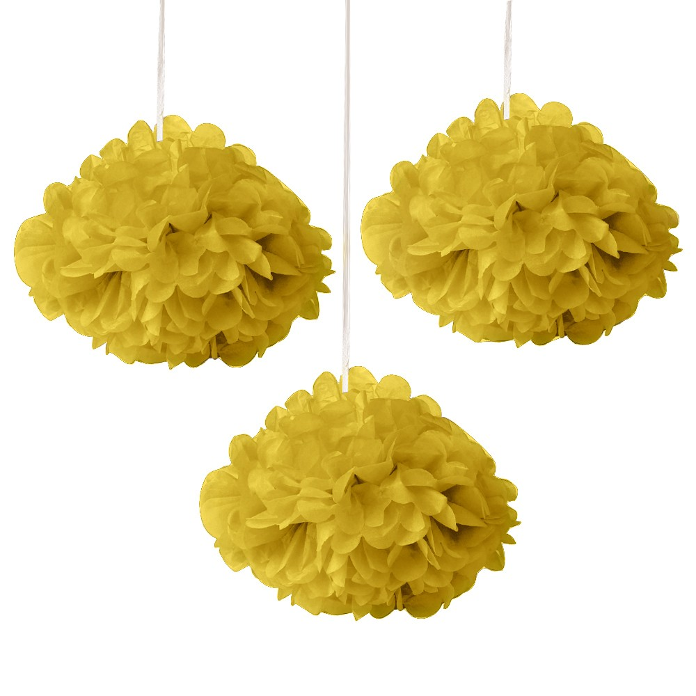 Yellow Fluffy Decoration - (Set of 3) 12""