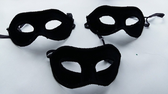 Mask Half Felt Black ( set of 3 )