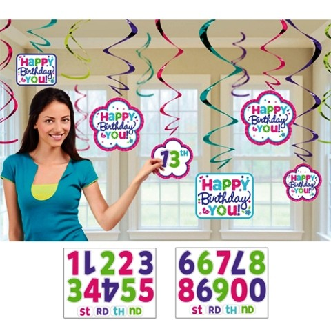 Happy Birthday Customized swirls (set of 12)