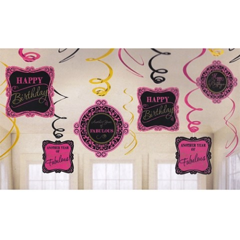 Happy Fabulous Birthday Swirls (set of 12)