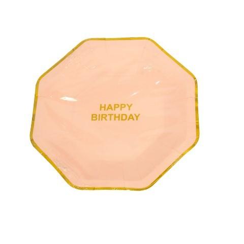 Happy Birthday Pink Plates (set of 10Pc) 10''