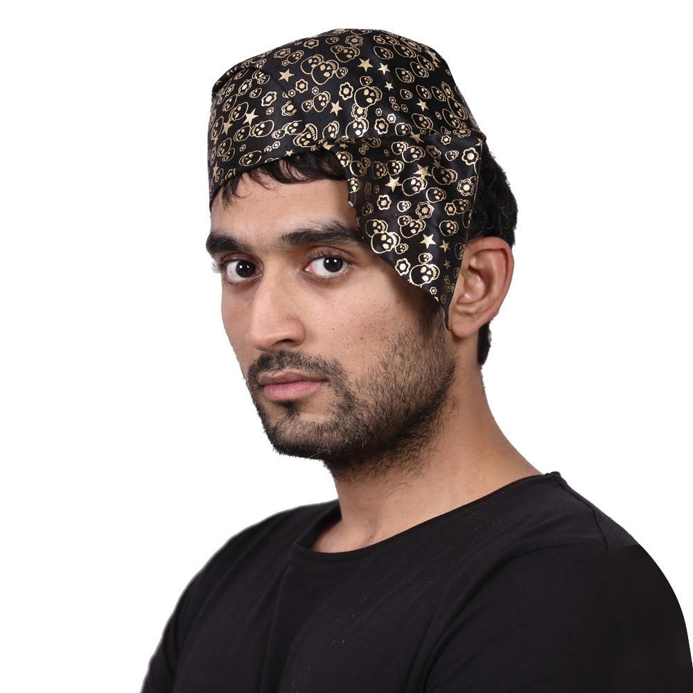 Black/Gold Skull bandana cap
