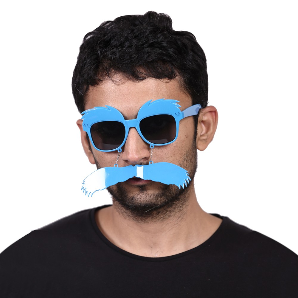 Blue Moustache Party Glasses (big)