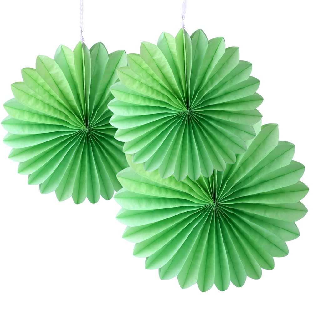 Green Paper Fan Decoration -(Set of 3) 12""