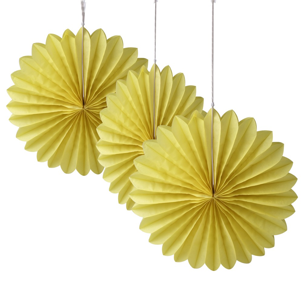 Yellow Paper Fan Decoration -(Set of 3) 12""