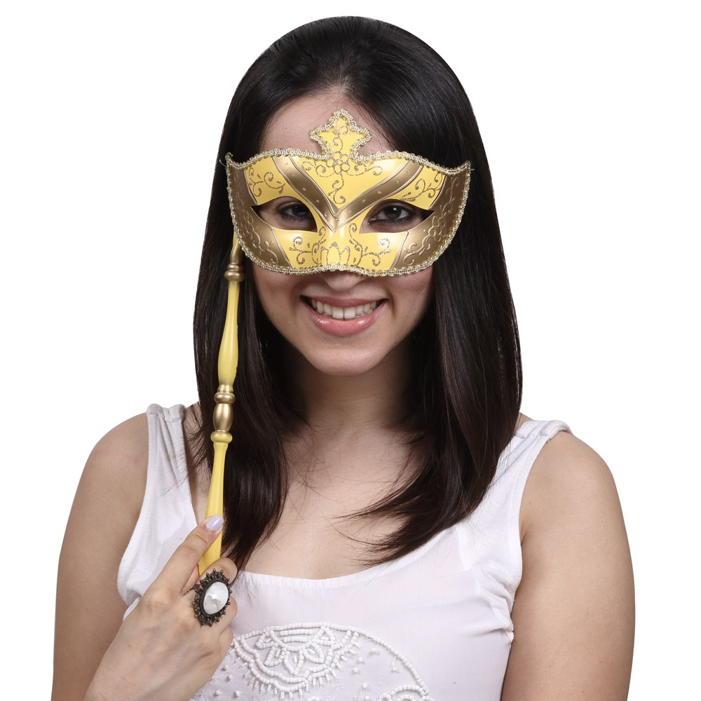 Yellow Half Mask with Stick