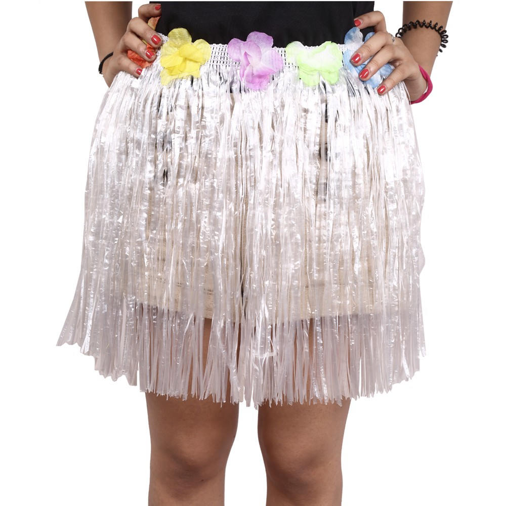 White Straw Hula Skirt Small