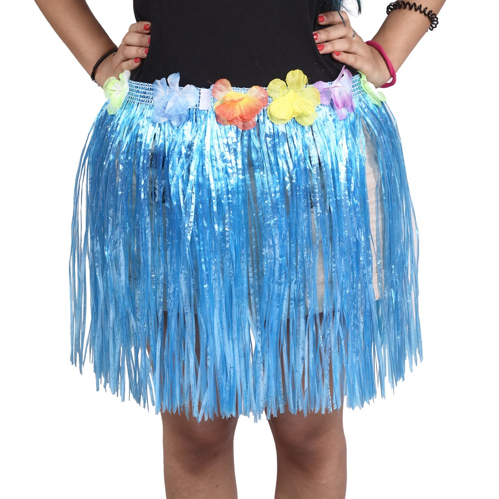 Blue Straw Hula Skirt Small