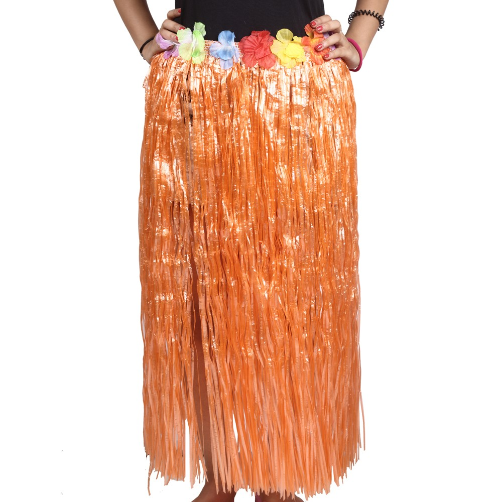 Orange Straw Hula Skirt Large