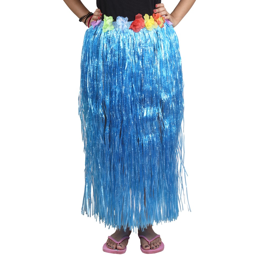 Blue Straw Hula Skirt Large