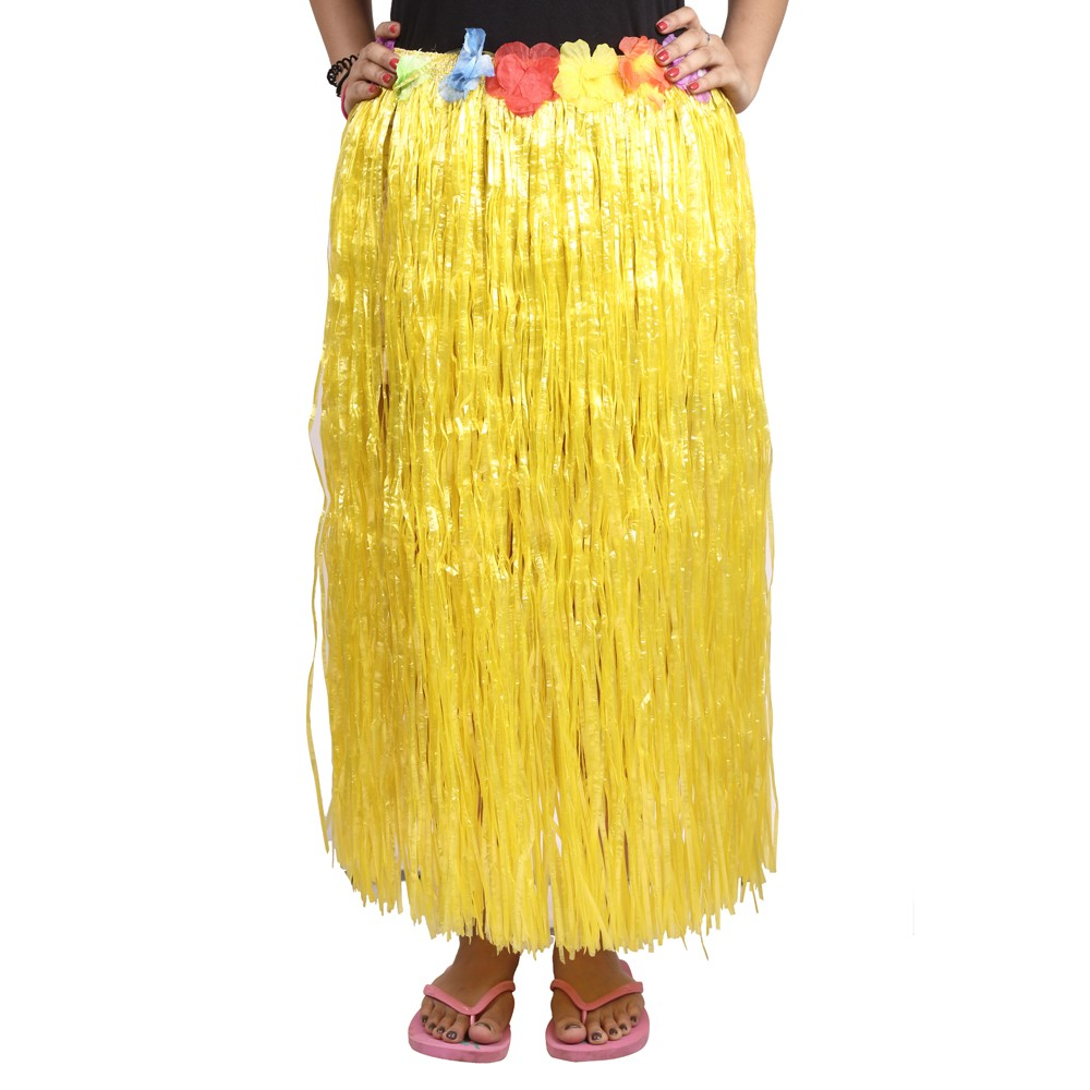 Yellow Straw Hula Skirt Large