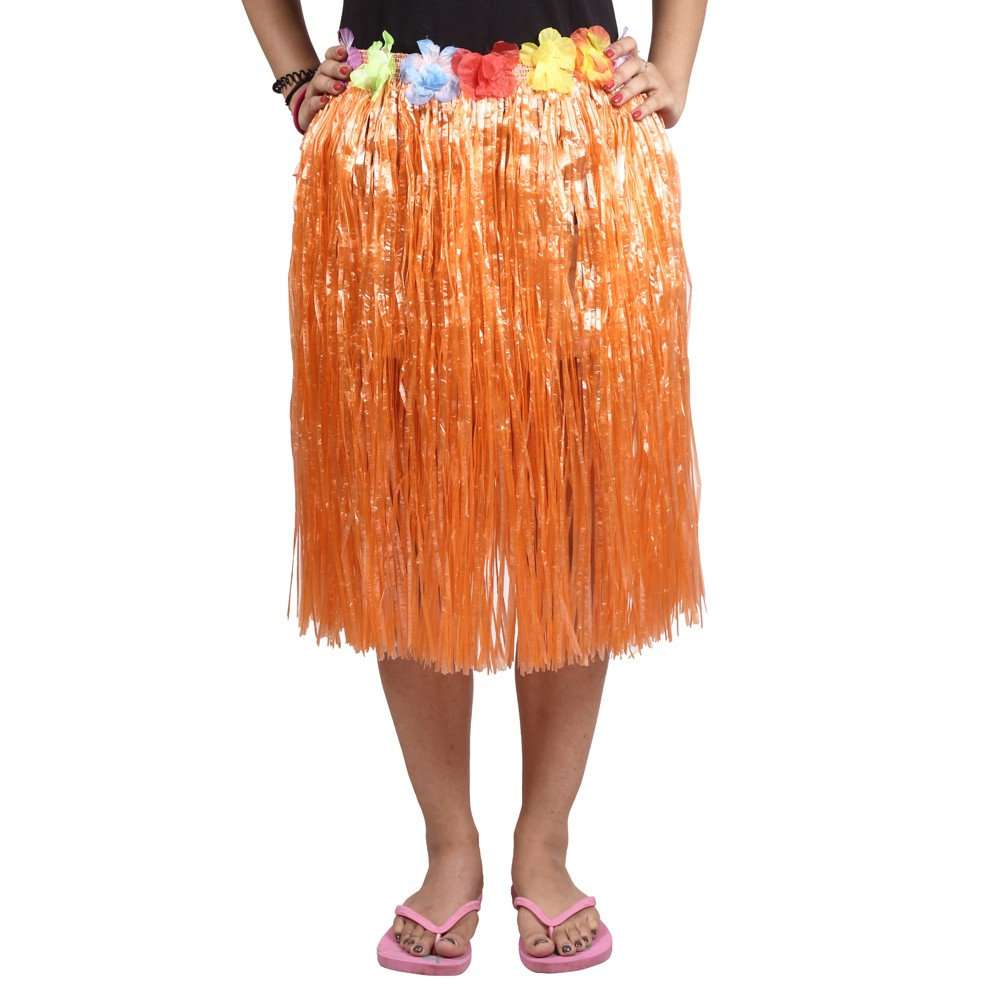 Orange Straw Hula Skirt Medium