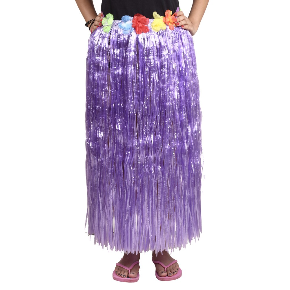 Purple Straw Hula Skirt Large