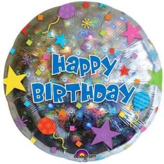 Sparkling Round Birthday Foil Balloon 18''