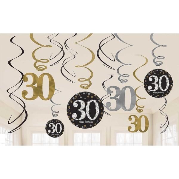 30th bday swirls decoration (set of 12)