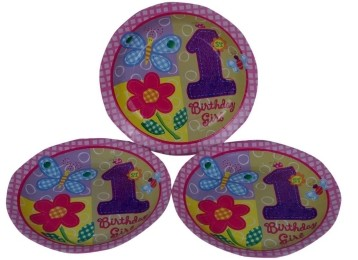 1st birthday girl plates (Set of 8)