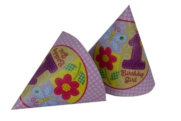 1st Birthday Girl Caps (Set of 8)