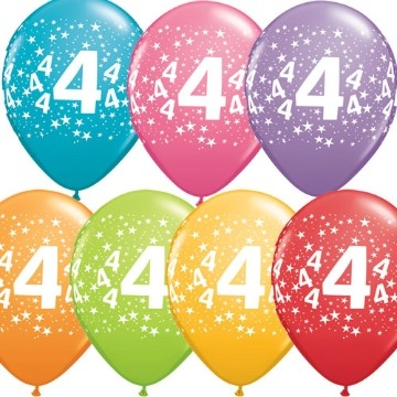 4th printed latex balloons (set of 10)