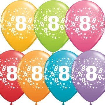 8th printed latex balloons (set of 10)