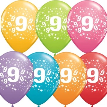 9th printed latex balloons