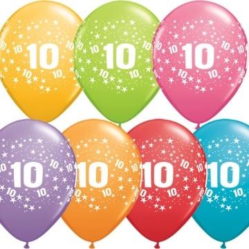 10th printed latex balloons