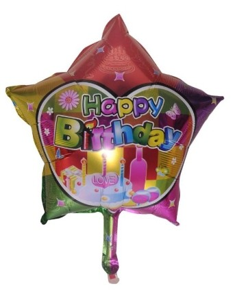 Star happy birthday foil balloon