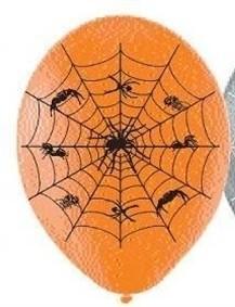 Orange Spider Web Latex Balloon