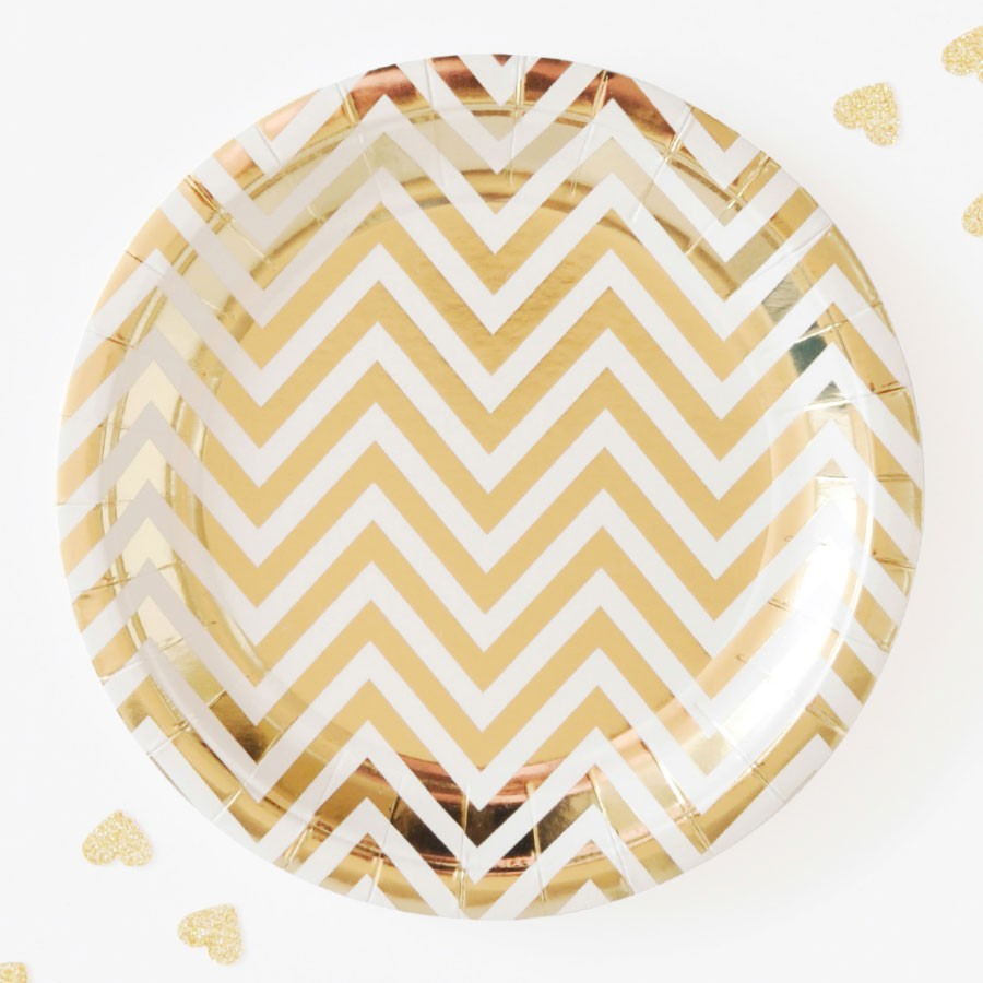 Gold Chevron Paper Plates (set of 10pc) 9''