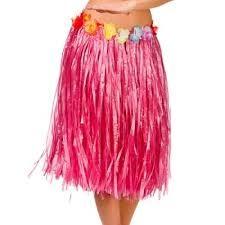 Red Straw Hula Skirt Medium