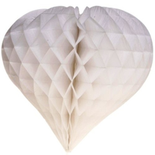 White Honeycomb Heart shape Decoration(set of 3)-12''