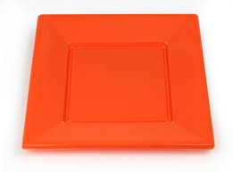 Orange Plastic Plates - Set of 12