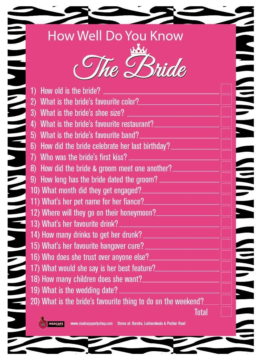 How Well Do You Know The Bride Set Of 6