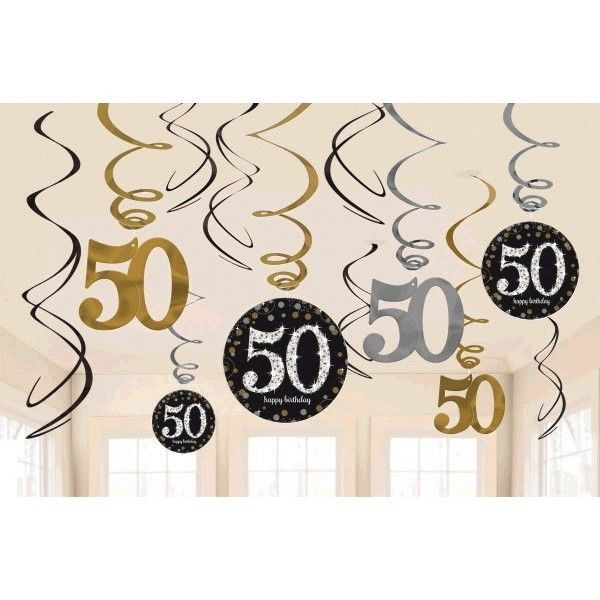 50th bday swirls decoration ( set of 12)