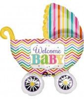 Welcome Baby Buggy Supershape Foil Balloon 32''
