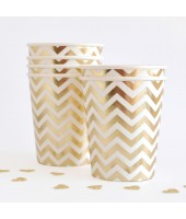 Gold Chevron Paper Cups (set of 10pc)