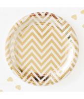 Gold Chevron Paper Plates (set of 10pc) 9''
