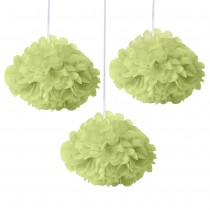 Green Fluffy Decoration ( Set of 3 ) 8''