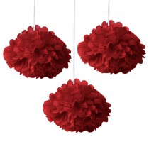Red Fluffy Decoration ( Set of 3 ) 8''