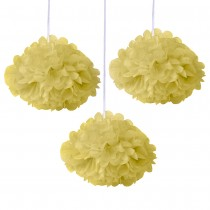 Yellow Fluffy Decoration ( Set of 3 ) 8''