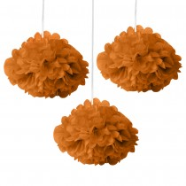 Orange Fluffy Decoration - (Set of 3) 12""
