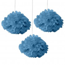 Blue Fluffy Decoration - (Set of 3) 12""