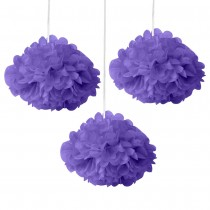 Purple Fluffy Decoration - (Set of 3) 12""