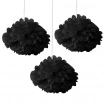 Black Fluffy Decoration ( Set of 3 ) 8''