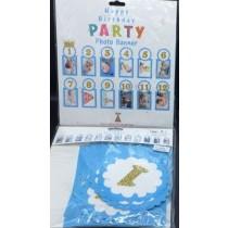 1st Birthday Month Photo Banner - BLUE