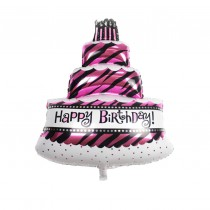 Happy Birthday Zebra print Foil Balloon 30''