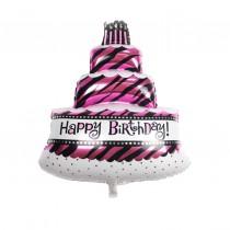 Happy Birthday Zebra print Foil Balloon 30''
