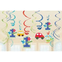 1st bday boy swirls decorations( set of 12)