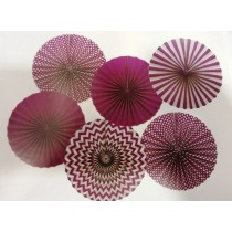 Purple Paper Fan Set- ( set of 6pcs )