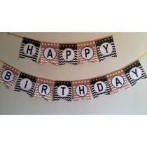 Black & Gold  Birthday  Bunting