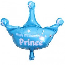 Happy Birthday Prince Crown Foil Balloon 25''